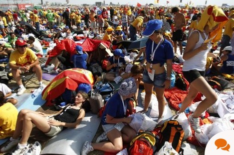 Some of the happy campers waiting for Pope Benedict's arrival at Cuatro Vientos airport in Madrid, Spain