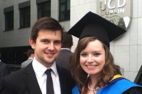 Alison Kelly with her boyfriend at her graduation last September.
