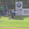 Andrew 'Beef' Johnson won a car and celebrated with an enthusistic chest bump
