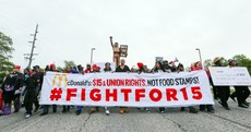 "McDonald's workers protest ""poverty wages"" and demand $15/hour"