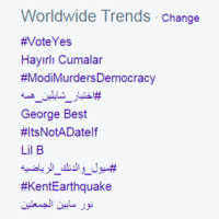 #VoteYes is the top worldwide trend on Twitter today