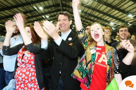 People celebrate the result at the Marriage Equality Referdendum count centre in the RDS.