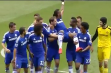 The Chelsea players gave Drogba a king's chair off the pitch on his final appearance