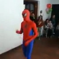 This Spiderman performer absolutely snotted himself at a kid's birthday party