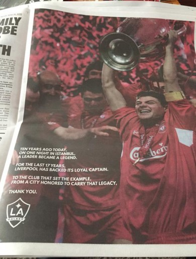 LA Galaxy take out a full-page ad paying tribute to Steven Gerrard's Liverpool legacy