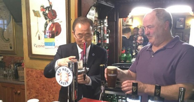 The obligatory photo of Ban Ki-Moon pulling a pint of Guinness