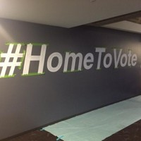 Twitter has painted #HomeToVote on the wall of its San Francisco HQ