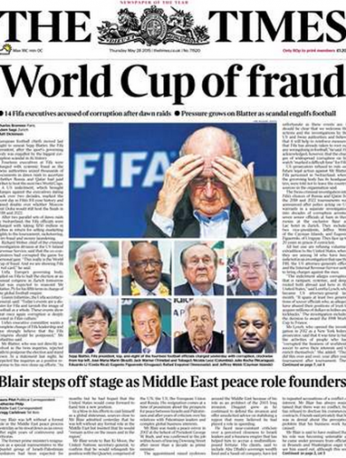'World Cup of fraud' - Today's front pages haven't held back on the latest Fifa storm