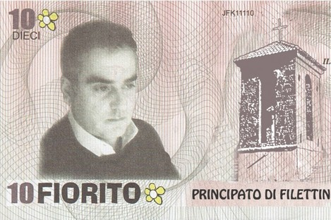 A banknote worth 10 fioritos - or exactly €20 - as is now used in the Principality of Filettino. The face on the note is that of mayor Luca Sellari.
