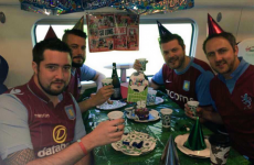 Aston Villa fans are having a birthday party for Stevie G on the train to Wembley