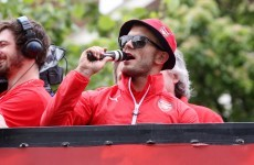 Jack Wilshere leads fans in anti-Spurs chant at Arsenal victory parade