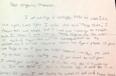 A kid pranked a police station and his parents made him write this brilliant apology letter