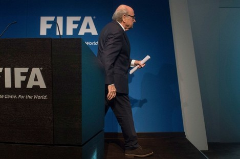 Sepp Blatter after announcing his resignation as FIFA president