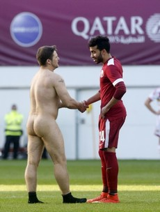 This streaker shaking hands with a Qatar player is the fairplay ad of the future