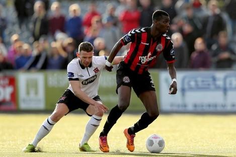 Bohs striker Ismahil Akinade.