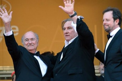 Fifa president Sepp Blatter and actor Gerard Depardieu.