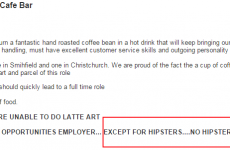 This Dublin restaurant's job posting includes one VERY important stipulation