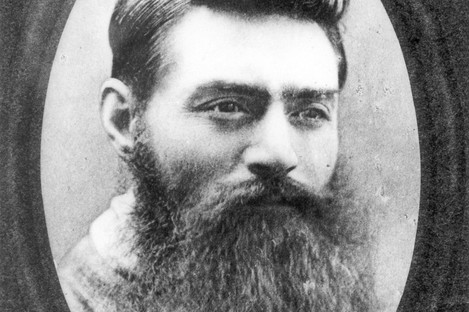 Ned Kelly in a photo taken at the Old Melbourne Jail on the day before he was hanged on 11 November 1880.