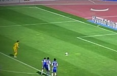 Clever or cheating? Korean goalkeeper has a unique way of putting off penalty takers