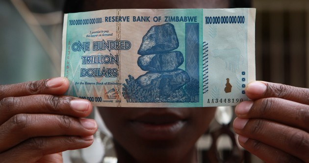 Zimbabwe is now exchanging 40 US cents for $100,000,000,000,000