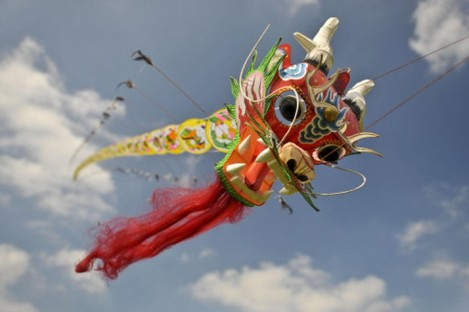 A Chinese Dragon kite flying in Bristol, England.