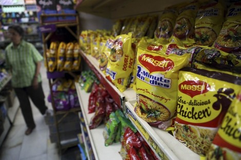 Maggi noodles on display in a grocery store in Bangalore India