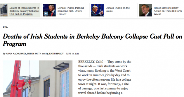 The New York Times says it never intended to blame victims of the Berkeley tragedy