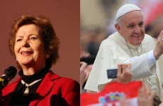 Former president Mary Robinson is very happy with the Pope