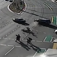 Hair-raising video shows schoolkids narrowly avoiding injury in motorbike crash