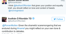 Aodhán Ó Ríordáin and Rónán Mullen are having a bit of a row on Twitter