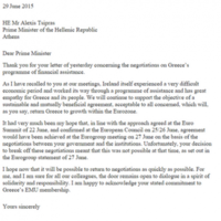 Here is the letter Enda Kenny sent to Alexis Tsipras last night