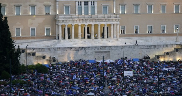 Thousands of people are rallying in the centre of Athens right now