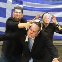 Alexis Tspiras throws feta cheese and Greek yoghurt at Michael Noonan outside Leinster House*