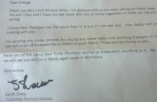 A boy wrote to a supermarket about the 'secret ingredient' in shampoo and got the best response