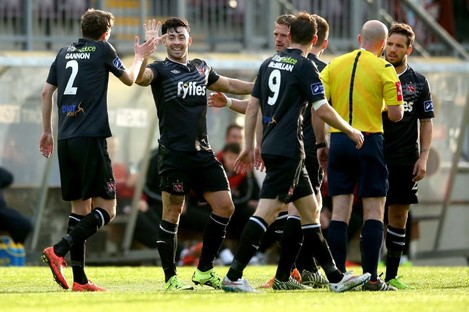 Dundalk's Richie Towell celebrates scoring his sides first goal with Sean Gannon.