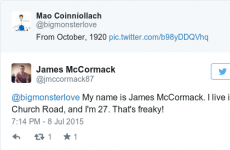 This Twitter interaction between two Dublin men contains the freakiest coincidence...