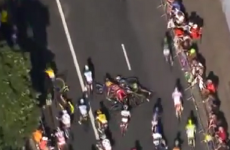Tour de France leader breaks collarbone in dramatic crash 900m from finish line