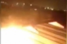 Watch: Terrifying moment as plane engine bursts into flames during take-off