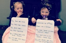 This fed-up mother of twins had a novel solution to silence prying strangers
