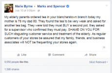 A Dublin branch of Marks and Spencer was hit with an extremely viral complaint about tea