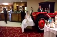 A Sligo bride arrived into her wedding venue on the back of a tractor