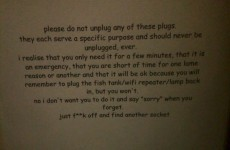 A frustrated Dad left this excellent note for his sons about plug socket use