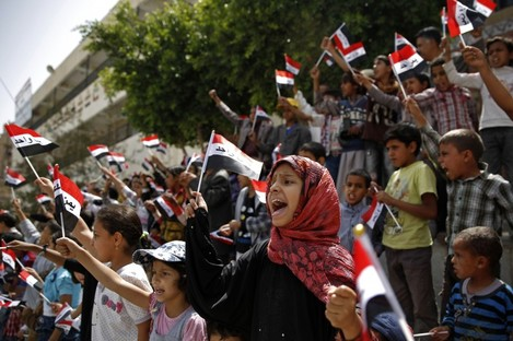 Children chant slogans during a protest against Saudi-led airstrikes in Sana'a, Yemen.