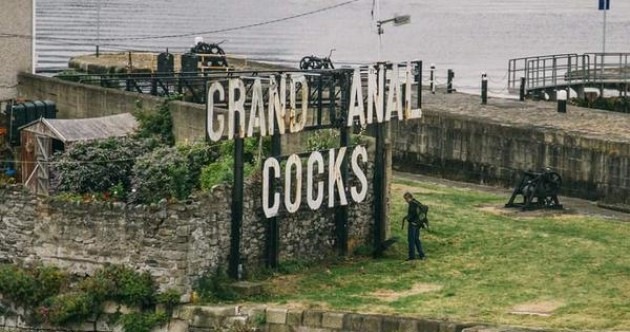 Someone changed the 'Grand Canal Docks' sign to say 'Grand Anal C***s'