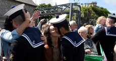 Kisses all round as LÉ Eithne sailors welcomed back home