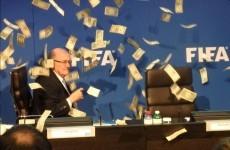 Make it rain! Somebody just threw a big wad of cash over Sepp Blatter