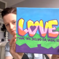 This woman has said thanks for the Yes vote by leaving free pieces of art about the place