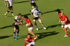 Rather than use a hand-off, this Tongan prop just tried to punch his opponent away