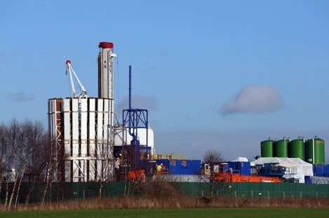 A general view of the drilling site at Barton Moss in Greater Manchester.