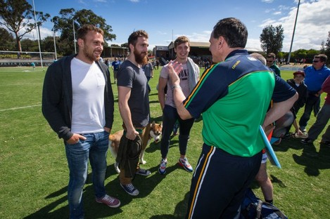 Ciaran Sheehan, Zach Tuohy and Ciaran Byrne with Irish International Rules manager Paul Earley last year.